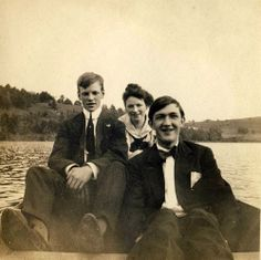 Stone cottage From a larger archive of photos taken by my Grandfather commemorating his youth and his friends. Ties on vacation ties in a rowboat.  Sometimes it strikes me as strange: Me in 2013 pouring over the archive of a man who barely knew me, speculating about his life and those of his friends. All the these folks long passed on.