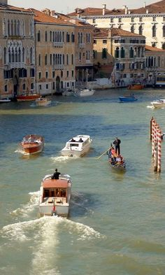 Water Taxis & Gondolas on the Grand Canal ♦ Venice, Italy