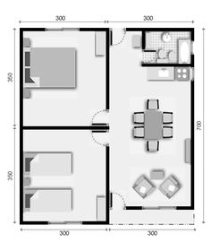 Two Bedroom Houses - Build your house and facade Trends 2018 Little House Plans, Small House Floor Plans, My House Plans, 2 Bedroom House Plans, Model House Plan, Build Your House, Apartment Floor Plans, Container House Plans, Apartment Layout