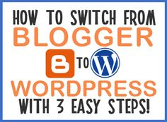 Blogger is a great way to start blogging, however, if you want to add cool plugins to your blog you may consider switching to WordPress.Here is a simple 3 step tutorial from moving your blog from ...