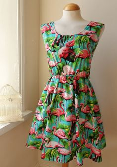 Dress With Tropical Flamingos