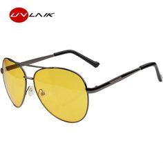 #FASHION #NEW UVLAIK Aviation Night Vision Glasses Men Driving Yellow Lens Sunglasses Classic Anti Glare Vision Driver Safety glasses for…