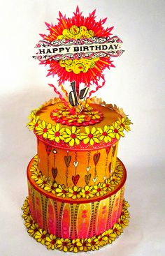 The Gentleman Crafter-super cool 'birthday cake' for dyan reaveley using her ink sprays!!