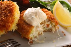 This crab cake recipe contains no filler—just crabmeat bound with a light aioli, then topped with a light coating of panko for a crispy coating.
