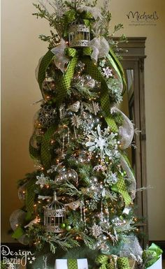 baubles, birds, moss and more make this tree the JEWELED FOREST! Tree designed by Toni Dazzle Christmas Tree Design, Beautiful Christmas Trees, Christmas Tree Themes, Noel Christmas, Green Christmas, All Things Christmas, Christmas Crafts, Xmas Trees, Modern Christmas