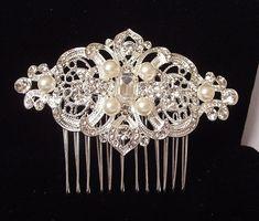 Bridal hair comb Wedding hair piece Pearl by nefertitijewelry2009, $36.00