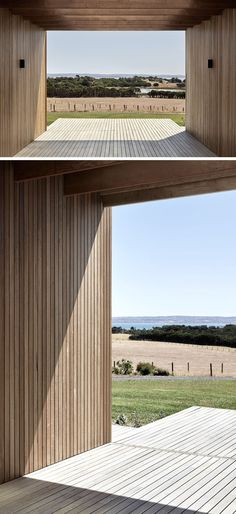 This modern house has an exterior of Blackbutt shiplap, which helps to keep the house to have a simple, minimal, and warm aesthetic, that enables the family to focus on relaxation. Farm Shed, Farm House, Country House Design, Toms, House Roof, Modern Buildings, House Goals, Architecture Details, Pavilion