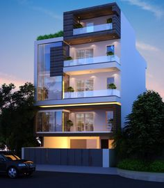 Find apartments, flats, plots and residential houses of call on 0124 House Outer Design, Modern Small House Design, Small House Exteriors, House Front Design, 3 Storey House Design, Bungalow House Design, House Architecture Styles, Architecture Sketches, Narrow House Designs