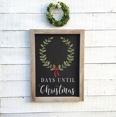 Excited to share this item from my shop: Days until Christmas, framed chalkboard sign Christmas Chalkboard, Framed Chalkboard, Chalkboard Ideas, Christmas Frames, Christmas Signs, Christmas Ideas, Lake House Signs, Wood Wedding Signs, Days Until Christmas