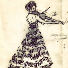 Musical picture. Would be cool if she was holding the instrument in the right hand.
