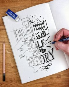 Handlettering ~ the finished product only tells half the story Hand Lettering Quotes, Calligraphy Quotes, Creative Lettering, Calligraphy Letters, Typography Letters, Lettering Design, Pencil Calligraphy, Desenhos Love, Drawing Quotes