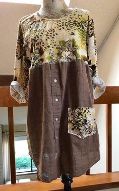 Damen Upcycling Tunika Recycling-T-Shirt umgewidmet