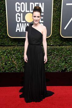 Rachel Brosnahan in a black one-shoulder dress by Vionnet