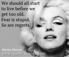 Marilyn Monroe - We should all start to live before we get too old. Fear is stupid. So are regrets.