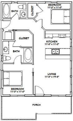 2 Bedroom House Plans Elegant Pdf House Plans Garage Plans & Shed Plans Small House Floor Plans, Cabin Floor Plans, Dream House Plans, Shed House Plans, The Plan, How To Plan, Tiny House Cabin, Tiny House Design, Granny Pods