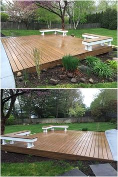 This stunning wooden made modern deck designing is little high from the ground. This design is speci Pallet Decking, Modern Deck, Deck Landscaping, Floating Deck, Backyard Patio Designs, Low Deck Designs, Small Backyard Decks, Backyard Playground, Diy Deck