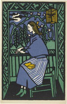 "Oskar Kokoschka (Austrian, 1886-1980) Girl at Window (Mädchen am Fenster) (postcard) (1907). Photolithograph, composition: 5 1/4 x 3 3/8""; sheet: 5 1/2 x 3 9/16"".  Paper: Cream, smooth, wove. Publisher: Wiener Werkstätte, Vienna. Printer: Albert Berger, Vienna. Edition: unknown (approx. 200-7000)."