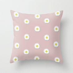 Daisies Throw Pillow by siobhaniaa - $20.00 Bed Room, Daisies, Room Decor, Throw Pillows, Stuff To Buy, Pink Closet, Garden, Craft, Needlepoint