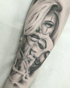 Trendy Tattoo Women Forearm Face Ideas – … - Famous Last Words Clown Tattoo, Mask Tattoo, Tattoo Art, Face Tattoos For Women, Sleeve Tattoos For Women, Tattoo Women, Chicano Tattoos Sleeve, Forearm Tattoos, Female Thigh Tattoos