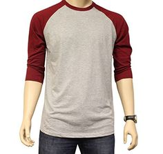 Men's Plain Athletic 3/4 Sleeve Baseball Sports T-Shirt Raglan Shirt S-XL Team Jersey Gray Burgundy L - http://www.exercisejoy.com/mens-plain-athletic-34-sleeve-baseball-sports-t-shirt-raglan-shirt-s-xl-team-jersey-gray-burgundy-l/athletic-clothing/