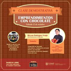 #AEGEPTH | Si deseas emprender en el rubro del chocolate, este taller es para ti. El ingreso es libre para nuestros egresados de la Escuela Profesional de Turismo y Hotelería. Solo debes enviar un correo con tus datos a: aegepth@usmp.pe
