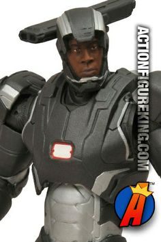 Iron Man 3: movie version War Machine features a removable mask which reveals an incredible likeness to actor Don Cheadle. #warmachine #ironman3 #actionfigure #marvelselect