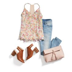 Mayday, mayday! We have your perfect spring outfit—a floral tank, light wash jeans & a peony pink clutch. #StylistTip