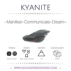 Metaphysical Healing Properties of Kyanite, including associated Chakra, Zodiac and Element, along with Crystal System/Lattice to assist you in setting up a Crystal Grid. Go to https:/stoulsistersdesigns.com to learn more!