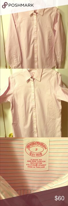 Brooks Brothers Classic Fit Non-Iron Stretch Shirt NEVER BEEN WORN & DISCONTINUED FIT. Will accept respectful offers. Please excuse any apparent wrinkling from storage. ☺️ Rare find! Received as a gift from parents but after unpacking online shipment realized that it was too roomy (I typically wear petites in this brand). Comes from a smoke-free home. Please let me know if you have any questions! 🎀 Brooks Brothers Tops Button Down Shirts