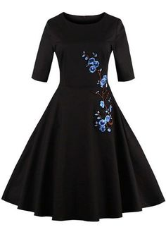 Vintage 50s Style Black Embroidered Half Sleeve Swing Party Dress