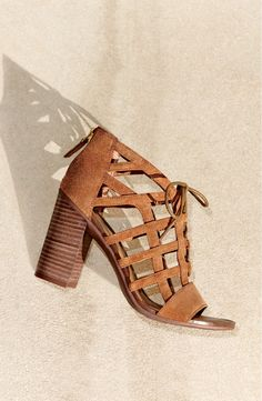 Step up with these suede cage sandal from Franco Sarto! They're cinched together with slender laces and lifted by a stacked block heel for the perfect warm-weather look.