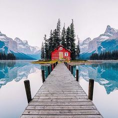 Maligne Lake, Jasper National Park, Alberta, Canada | PC: @chrisburkard. I want this house!