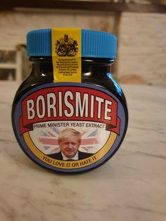 Marmite Borismite Edition This is not an official Marmite product, item is handmade. Unopened jar contains reduced salt marmite Marmite, Jar, Vegan, Funny, Food, Meal, Essen, Jars, Eten