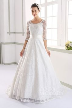 Charming A-line Bateau Natural Court Train Lace Ivory Half Sleeve Zipper With Buttons Wedding Dress with Sashes LD3463