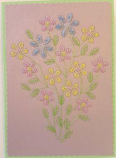 **FADENGRAFIK Glückwunschkarte / Grußkarte BLUMEN 33 - pastellfarbene filigrane Blumen - neutrale Karte**  Fadengrafik mit dem abgebildeten Motiv auf einer  **Doppelkarte mit Umschlag im Format...