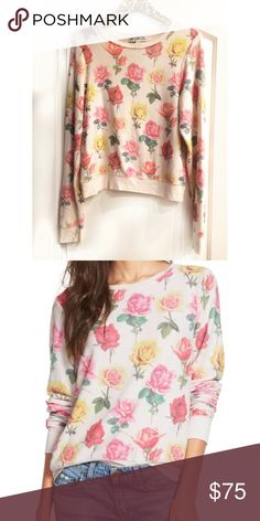 •WILDFOX• Bright Roses Baggy Beach Jumper In excellent pre owned condition, this piece has pilling but has never been put in a dryer so is still almost as soft as new. Wildfox Tops Sweatshirts & Hoodies