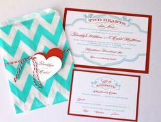 Brooklyn Wedding Invitation Sample - Chevron Design - Red, Turquoise and White. $6.75, via Etsy.