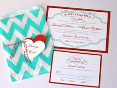 Brooklyn Wedding Invitation Sample - Chevron Design - Red, Turquoise and White. $6.75, via Etsy.