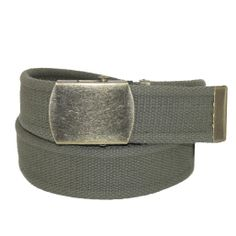 Womens Vintage Style Military Belt by CTM. Cotton Fabric. Antiqued brass buckle and tip. Adjustable to 48 inches