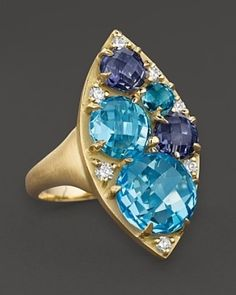 Carelle Blue Topaz, Iolite And Diamond Marquis Cluster Ring b