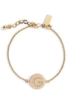 kate spade new york 'north court' pavé initial charm bracelet | Nordstrom