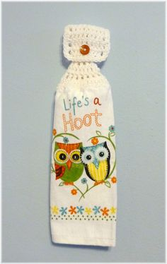 Hanging Kitchen Towel Owls by DebbieCrochets on Etsy