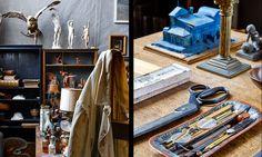 Vid flytten av ateljén till Skansen följde alla inventarier med. Till höger: Ordning och reda råder på arbetsbordet. I bakgrunden en modell till byggnaden. House 2, Bookends, Colours, Ideas, Home Decor, Scale Model, Decoration Home, Room Decor, Home Interior Design