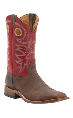 Justin Bent Rail Men's Rough Rider Tobacco with Dutch Red Top Double Welt Square Toe Western Boots