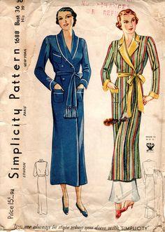 1930s Women's Robe Pattern  Vintage Simplicity 1688 by ErikawithaK