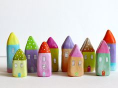 Little Home No 144 - Orange, purple and blue little clay house.