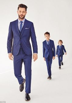 2016 Navy Blue Father And Son Matching Suits 3 Pieces Slim Fit Wedding Prom Dinner Suits For Men Groom Tuxedos Best Man Attire Daddy And Son, Dad Son, Father And Son, Father Son Photos, Kim And North, Boys Wedding Suits, Dinner Suit, Boys Suits, Matching Outfits