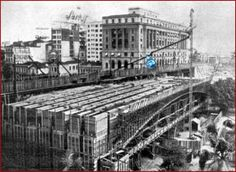 Dois viadutos do Cha // anos 30-Construcao do novo viaduto ao lado do antigo