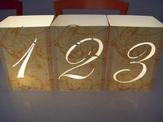 DIY Table Numbers - and how SIMPLE!  and place a flameless tea light in the middle.