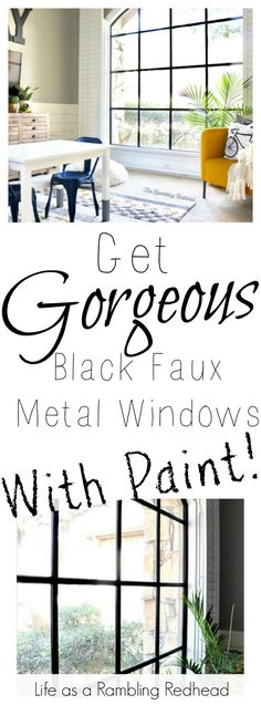So here was my dilemma… I wanted black windows but didn't really want to pay for new windows since our home renovation cost us a [. Metal Windows, Black Windows, Tri Level House, Home Renovation Costs, Home Repair Services, White Farmhouse Kitchens, Do It Yourself Home, Home Improvement, Photoshop